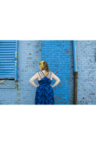 blue Maple dress - vintage hat - no 6 clogs