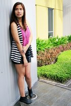 hot pink Topshop top - black Zara skirt - black Chickflick wedges