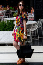 Red-multi-color-vero-moda-dress-black-bat-wing-oasap-bag