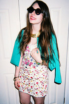 gold Karen London necklace - turquoise blue asos blazer
