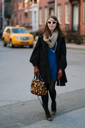 black banana republic coat - blue Sugarlips Apparel dress - brown brahmin bag