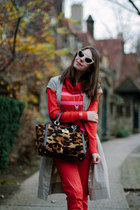 red H&M pants - beige banana republic dress - brown leopard print brahmin bag