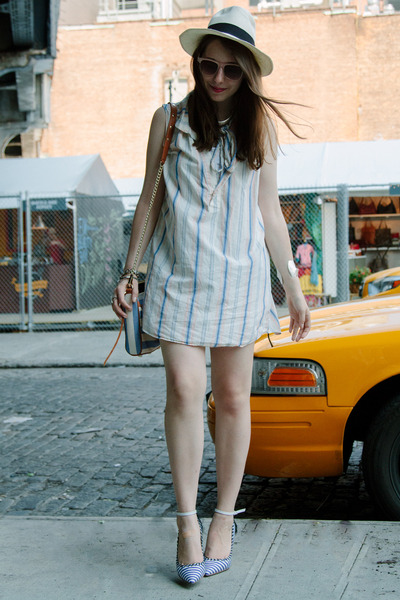 periwinkle Rebecca Minkoff bag - periwinkle striped JCrew dress