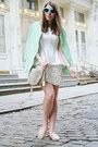 White-zara-skirt-aquamarine-knit-zara-jacket