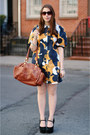 Brown-leather-george-gina-lucy-bag-navy-printed-ivana-helsinki-dress