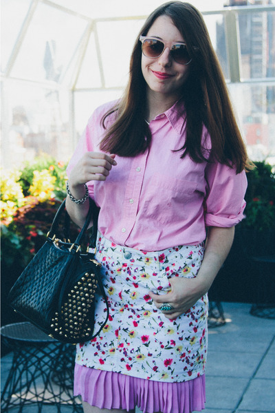 studded Rebecca Minkoff bag - Zara skirt - Ralph Lauren blouse