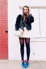 Dark-gray-faux-fur-kimchi-blue-coat-white-pleated-hm-shorts