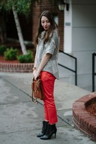 red H&M pants - black Coye Nokes boots - silver SHUI CHEN NY sweater