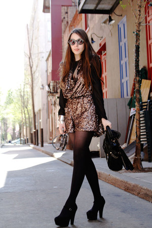 brown sequins French Connection romper - black round asos sunglasses