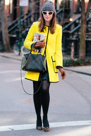 black Rebecca Minkoff bag - yellow Nanette Lepore coat