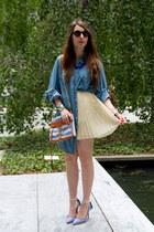 a836a0a0df blue denim Lane Bryant shirt - periwinkle Rebecca Minkoff bag · light pink  Rebecca Minkoff dress ...