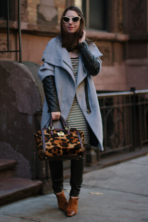 heather gray Zara coat - brown aerosoles boots - black leather David Kahn jeans