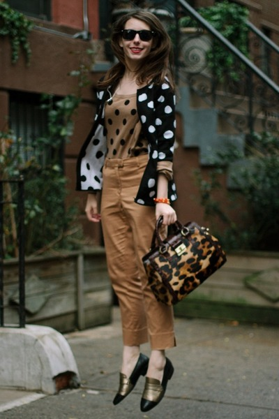 brown animal print brahmin bag - black polka dot Coldwater Creek sweater