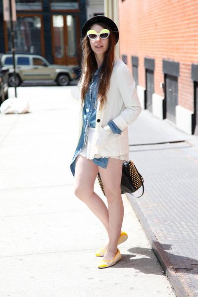 yellow Puma flats - black fedora Urban Outfitters hat - white H&M blazer