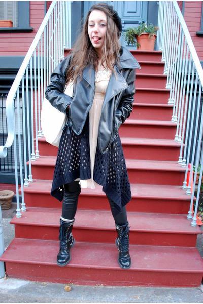 black boots - peach feminine Kimchi Blue dress - black leather jacket - black wo