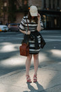 Brown-coach-bag-black-striped-h-m-dress-eggshell-baseball-cap-h-m-hat