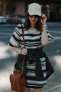 Brown-coach-bag-black-striped-h-m-dress-eggshell-baseball-cap-h-m-hat
