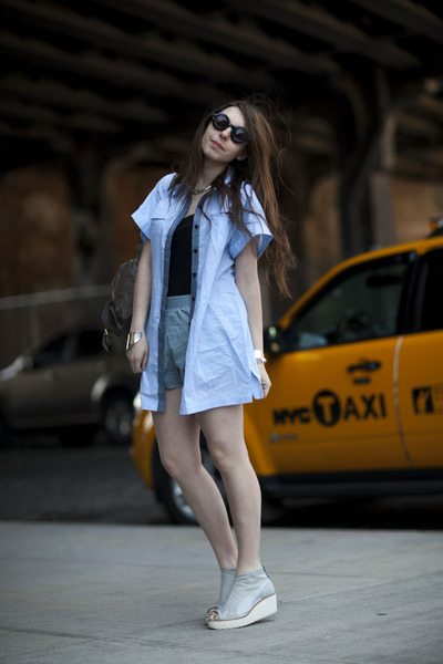 sky blue collared shirt NTICE shirt - periwinkle sport short NTICE shorts