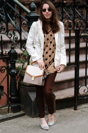 light brown polka dot Old Navy sweater - dark brown David Kahn jeans