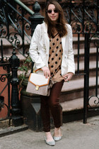 light brown polka dot Old Navy sweater - dark brown David Kahn jeans