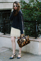 navy turtleneck knit Juicy Couture sweater - brown leopard print brahmin bag