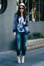 Navy-printed-zara-blazer-blue-silver-jeans-co-jeans-eggshell-stetson-hat