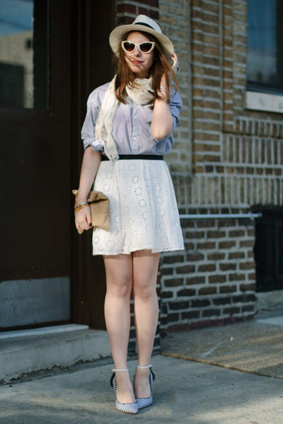 white Sugarlips Apparel skirt - off white panama JCrew hat