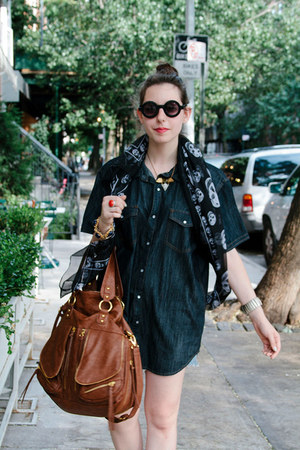 brown Urban Expressions bag - black asos sunglasses - navy Kenneth Cole blouse