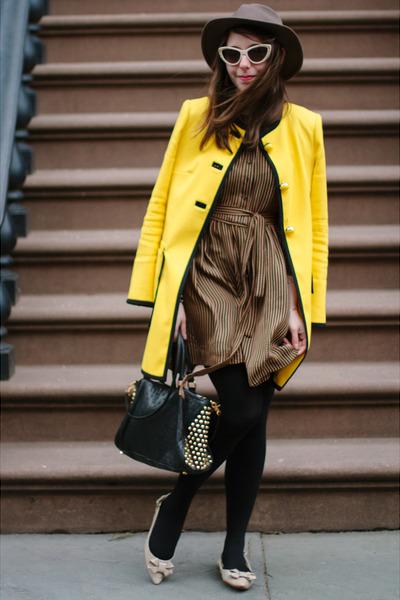 yellow Nanette Lepore coat - brown Kelly Wearstler dress