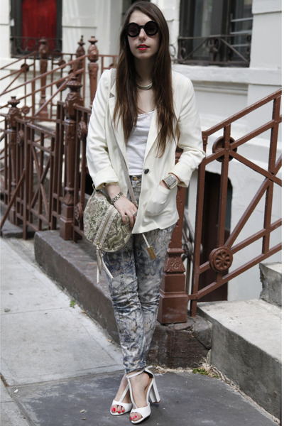 periwinkle snakeskin print Zara pants - ivory b H&M blazer