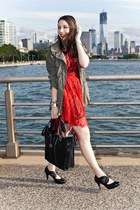 black Clarks heels - ruby red lace Lover dress