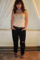 vintage scarf - unknown top - thrifted jeans - linea pelle belt - Diesel belt -