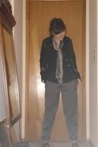 Diesel jacket - Theory sweater - t-shirt - unknown scarf - liz claiborne pants -