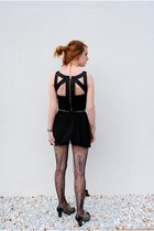 black open back dress Urban Outfitters dress - gray oxford heels shoes