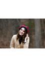 Beige-embroidered-forever-21-coat-ruby-red-scottish-tartan-hat