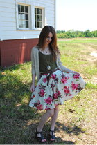 red floral skirt Forever 21 skirt - neutral crochet thrifted cardigan - dark gre