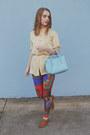 Blue-nasty-gal-leggings-sky-blue-leather-fossil-bag-light-brown-aldo-flats