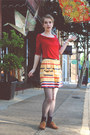 Ruby-red-cowl-neck-banana-republic-shirt-mustard-urban-outfitters-skirt