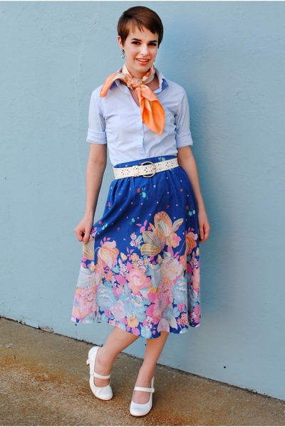 blue vintage skirt - white mary janes shoes