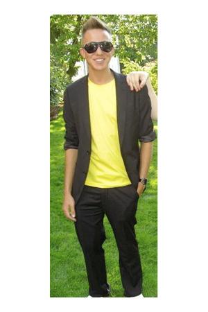 H&M suit - American Apparel shirt - Gucci sunglasses - Vans shoes