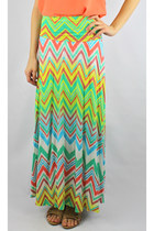 Pastel Chevron Striped Maxi Skirt - Mint/Multi