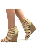 Strappy Wooden Wedge Sandals - Ivory