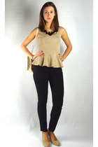 tan HCB top - black HCB jeans - beige HCB bag - black HCB necklace