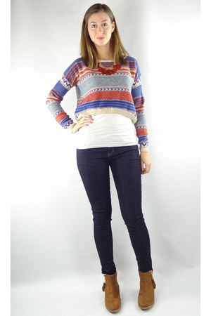 blue HCB sweater - camel HCB boots - navy HCB jeans - red HCB necklace