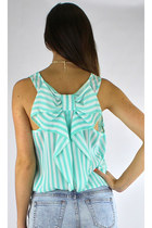 Sleeveless Striped Bow Back Blouse - Mint/White