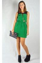 black HCB bag - green HCB dress - black HCB necklace - black HCB wedges