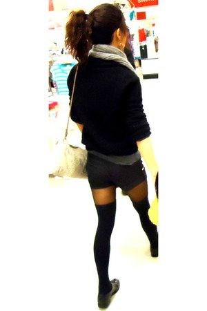 black shoes - cahsmere sweater - black tights - cashmere scarf - purse