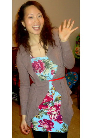 Forever 21 dress - Forever 21 belt - cashmere cardigan