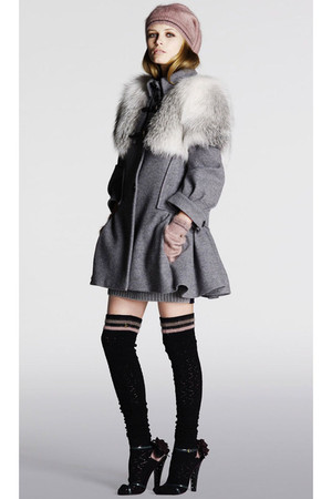 gray Louis Vuitton coat - black socks - black shoes