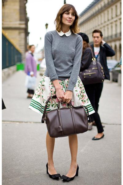 gray cardigan - white skirt - black shoes - white blouse